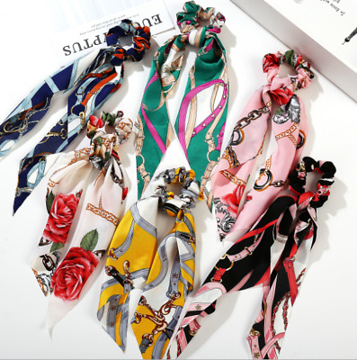 Solid Floral Bow Scrunchie Hair Band Elastic Hair Ties Rope Scarf Accessories HT