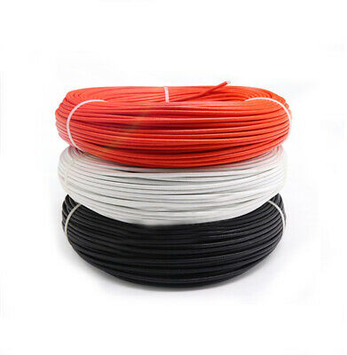 Silicone Braided High Temp Wire Glass Fiber Insulation Cable White Red & Black