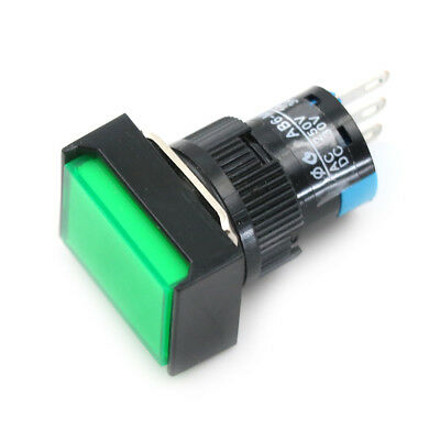 Momentary/Latching Push Button Switch Rectangular DC 12V/24V LED Light 5Pin  ~PL