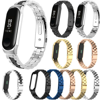 For 2019 Xiaomi Mi Band 4 Stainless Steel Band Wristband With Metal Case Strap
