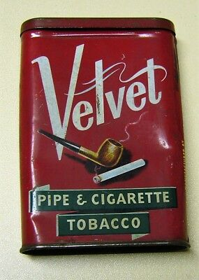 Antik Blechdose Velvet Pipe & Cigarette Tobacco Tabak Dose Made in USA Dose leer