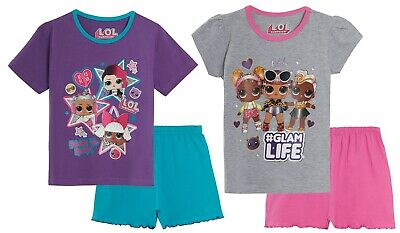 Girls LOL Surprise Dolls Short Pyjamas Kids 2 Piece Shortie Summer Pjs Set Size