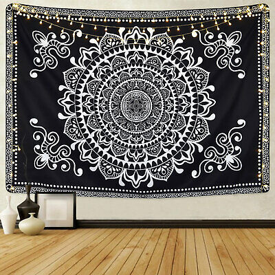 Ombre Mandala Tapestry Wall Hanging Black and White Indian Tapestry Wall Decor