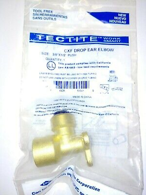 """Tectite Sharkbite Style 3/8"""" Push-to-Connect x 1/2"""" FPT Female Drop Ear Elbow"""