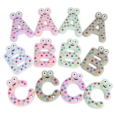 A B C Letter Alphabet Kids Baby Teether Silicone Soother Teething Toy Pendant