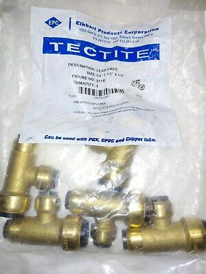 "(5 Pack) TECTITE Sharkbite Style Push-to-connect 3/4"" x 1/2"" x 1/2"" Reducing Tee"