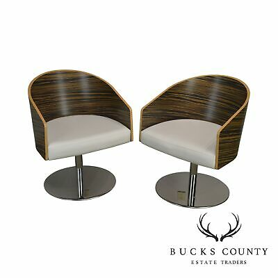 Ebony & White Leather Pair Chrome Ped. Swivel Barrel Lounge Chairs by Cape (C)