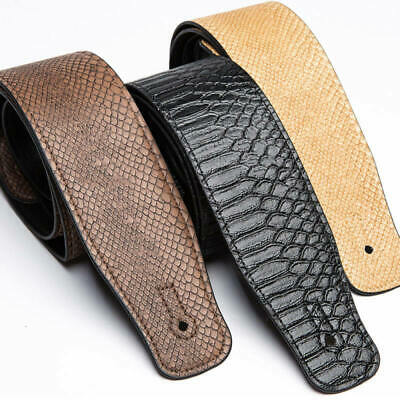 Classic Electric Acoustic Bass Guitar Strap PU Leather with Snakeskin Patt BLB