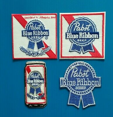 4 LOT PABST BLUE RIBBON Embroidered Iron Or Sewn On BEER Patches Free Ship