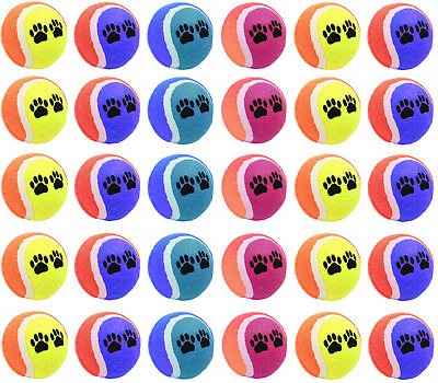 30 x Coloured Tennis Ball Pet Dog Training Toy Bouncing Puppy Game Fun Balls NEW