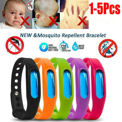 Anti Mosquito Pest Bug Repellent Wrist Band Bracelet Insect Bangle Lock 1-5pcs