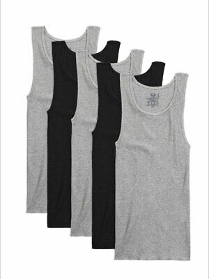 Fruit of the Loom Men's Dual Defense Black/Grey A-Shirt Undershirts - 5 Pack