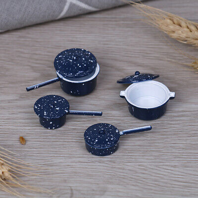 4Pcs/set 1:12 Dollhouse miniature metal cooking pan pot kitchen cookware  In SY