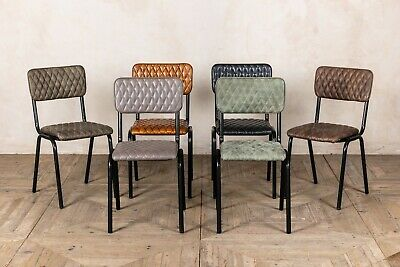 Quilted Leather Stackable Dining Chairs Diamond Stitch Cafe Chairs