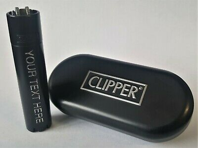 CLIPPER ENGRAVED MATT BLACK STEEL LIGHTER Personalised Birthday Valentine Gift L