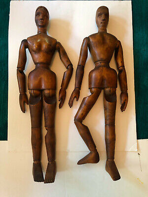 "1920s 33"" Handmade French Articulated Artist Mannequin Couple"