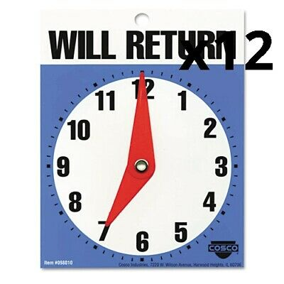 """Will Return Later Sign, 5"""" x 6"""", Blue, Pack of 12"""