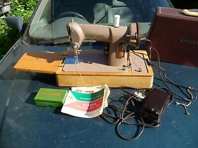 1959 Singer 185k electric sewing machine serviced PAT test leather reverse mint
