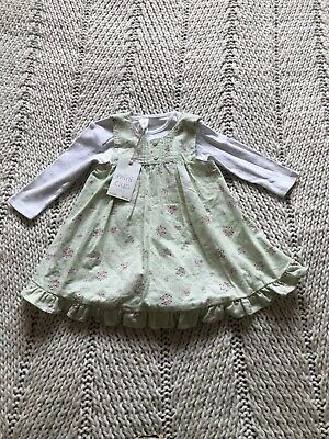 Girls Mini Club Baby Outfit BNWT 3-6 Months. Dress & Vest. Love Heart Buttons