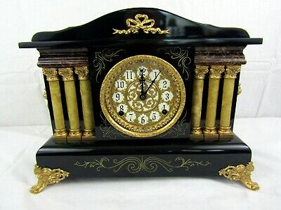Sessions Antique 1908 Six Column Mantle Clock - Fully Restored - Runs Great