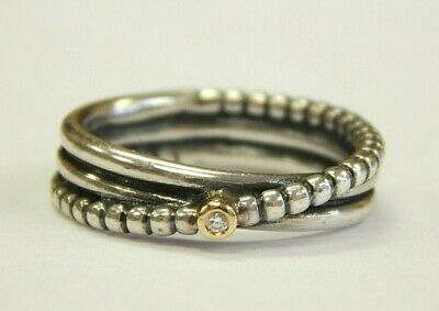 "14kt yellow gold & sterling silver Pandora ""rising star"" ring size 7"
