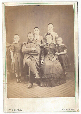 CABINET CARD Photograph Victorian Family by Searle of Liskeard