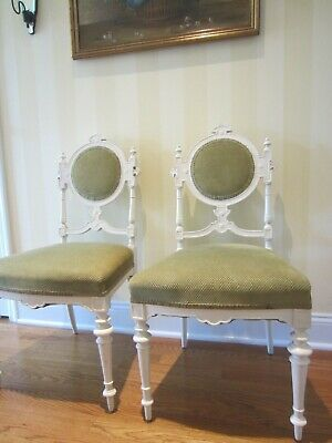 Antique Pair Of Victorian Sweet Palour Chairs Green Upholstery Unique