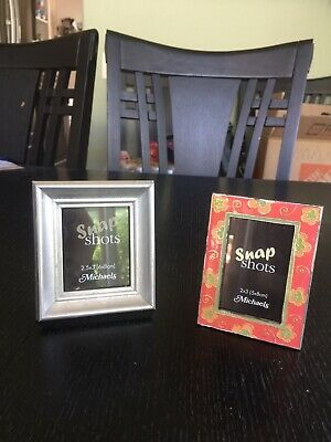 New Two Small Picture Frames - Silver And Floral