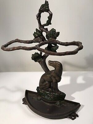 Antique French Cast Iron Umbrella Stand Hunting  Dog Tree Branches Leaves 23x15""