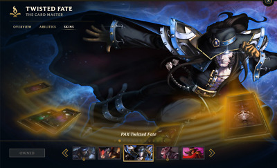 (NA) | PAX TWISTED FATE | League of Legends Account | 118 Champs | 108 Skins