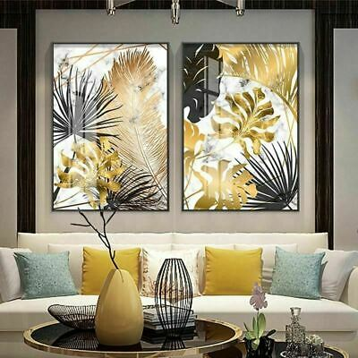 Nordic plants Golden leaf canvas painting posters and print wall art pictures