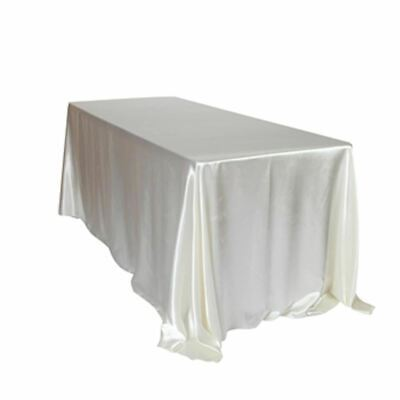 145x320cm White/Black Tablecloths Table Cover Rectangular Satin Tablecloth for W