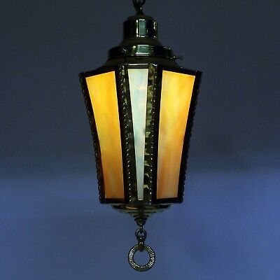 Vintage Antique Slag Glass Brass Hanging Foyer Porch Hall Ceiling Light Fixture