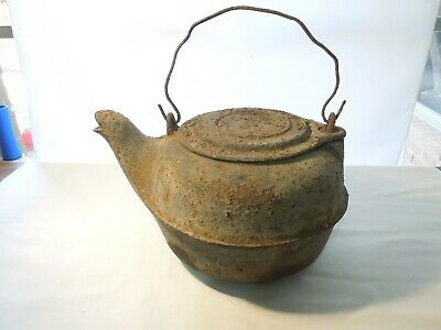 Antique Cast Iron #7 Hanging Tea Kettle with Swinging Lid Almost 8 Pounds