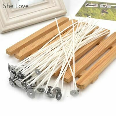 50pcs Candle Wicks 8 inch Cotton Core Pre Waxed W/ Sustainers Candle Making Supp