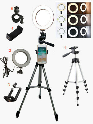 "6"" LED Ring Light Camera Lamp w Tripod Stand Phone Holder for YouTube Video Live"