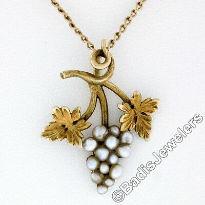 Handmade Antique Victorian 14K Gold Pearl Grape Cluster & Etched Leaves Pendant