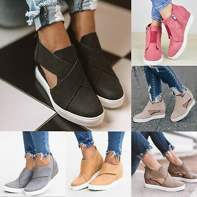 Women Hidden Wedge Heel Sneakers Trainers Ankle Boot Slip On Shoes Size 36-43