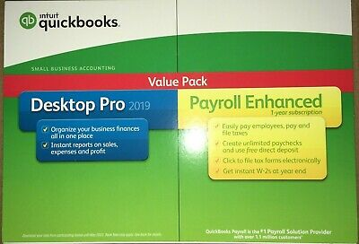 Sealed Intuit QuickBooks Desktop Pro 2019 with Payroll 1 yr, 1 user, PC Disc