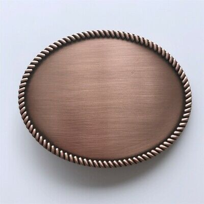 Classic New Antique Red Copper Plated Western Rope Oval Blank Belt Buckle