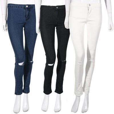 Ladies Sexy Skinny Jeans Womens New Fashion Ripped Knee High Waisted Jegging SA
