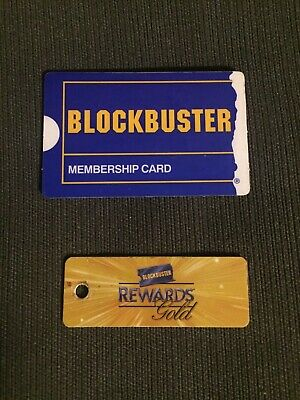 Blockbuster Video Membership Cards, One Blue card, One Gold keychain card