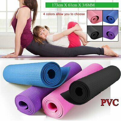 PVC Yoga Mat 3mm 6mm Thick Exercise Fitness Physio Pilates Gym Mats Non Slip