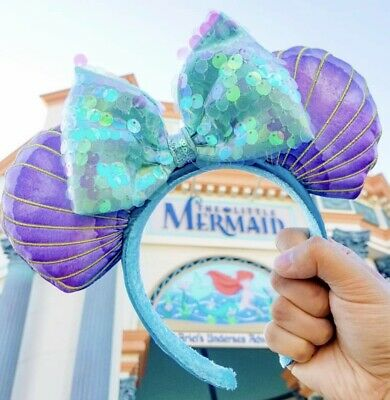 Disney Parks The Little Mermaid Ariel Sequin Iridescent Seashell Ears Headband
