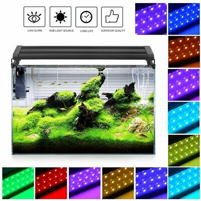 Aquarium Top Fish Tank Over-Head Lamp LED Light Blue/White RGB Color + remote UK