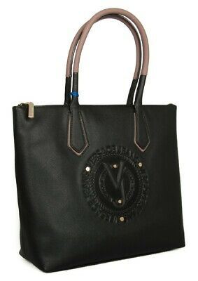73441555 VERSACE JEANS COUTURE Faux Leather Womens Zip Handbag Large Tote Bag ...
