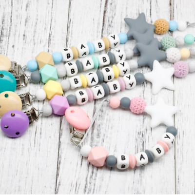 Baby Dummy Clips Teeth Chain Holder Kit Pacifier Teething Strap Silicone Beads