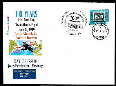 ALCOCK Transatlantic Flight  Anniv -'2.65' &  5 cancels -CDN Picture Postage FDC