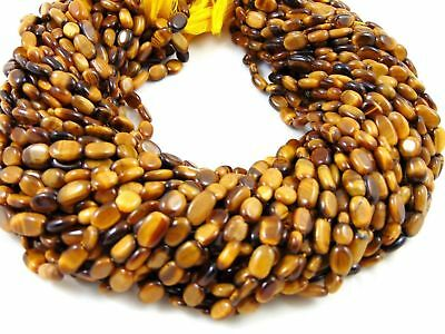 """Natural AAA 10 Strand Tigers Eye Gemstone Smooth 5x7-6x11mm Oval Beads 13"""" Long"""