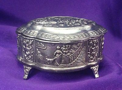 Beautiful Vintage Victorian Ornate Metal Footed Jewelry/Trinket Box/Orig. Liner